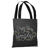 Pray More, Worry Less - Gray Multi Tote Bag by Lily & Val Tote Bag by Lily & Val