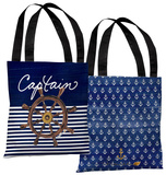 Captain Wheel - Navy Tote Bag by Timree Tote Bag