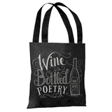 Wine is Bottled Poetry - Gray White Tote Bag by Lily & Val Tote Bag by Lily & Val