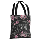 Live Life in Full Bloom - Gray White Tote Bag by Lily & Val Tote Bag by Lily & Val