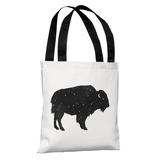 Mystic Buffalo - Black Tote Bag by Terry Fan Tote Bag