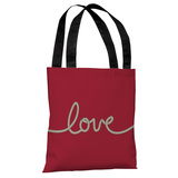 Love Rope - Red Tan Tote Bag by OBC Tote Bag