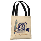 Never Surf Alone - Cream Tote Bag by Dog is Good Tote Bag by Dog is Good