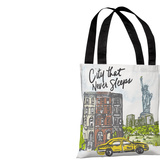 City Sleeps - White Multi Tote Bag by Jeanetta Gonzales Tote Bag