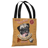 Puggaccino2 - Brown Multi Tote Bag by Krista Brooks Tote Bag
