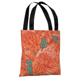 Abundant Florals - Coral Turquoise Tote Bag by OBC Tote Bag