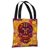 Dia De Los Muertos Skull - Orange Multi Tote Bag by Kate Ward Thacker Tote Bag by Kate Ward Thacker
