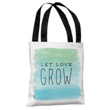 Let Love Grow - White Blue - Tote Bag Tote Bag