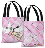 Hello Beautiful Quilted Bow/Pink Quilted - Pink White Tote Bag by Timree Tote Bag