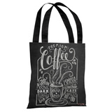 Premium Coffee - Gray White Tote Bag by Lily & Val Tote Bag by Lily & Val