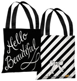 Hello Beautiful/Stripes - Black White Tote Bag by Timree Tote Bag