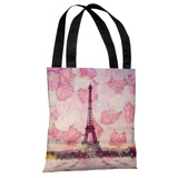 La Tour Eiffel - Pink Tote Bag by OBC Tote Bag