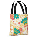 Ornate Florals - Coral Multi Tote Bag by OBC Tote Bag