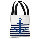 Anchor Half Stripe - White Gold Tote Bag by Timree Tote Bag