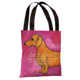 Dachshund - Pink Tote Bag by Ursula Dodge Tote Bag