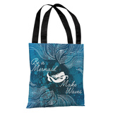 Make Waves Dark Blue - Blue Tote Bag by OBC Tote Bag