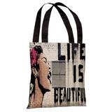 Life is Beautiful Tote Bag by Banksy Tote Bag