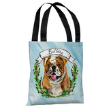 Bulldog - Blue Multi Tote Bag by Timree Tote Bag