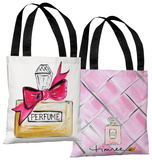 Bow Perfume/Pink Quilted - White Pink Tote Bag by Timree Tote Bag