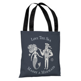 Marry A Mermaid Navy - Navy Tote Bag by OBC Tote Bag