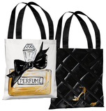 Bow Perfume/Black Quilted- White Black Tote Bag by Timree Tote Bag