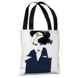 Navy Blue Sailor - White Navy Tote Bag by Judit Garcia Talvera Tote Bag