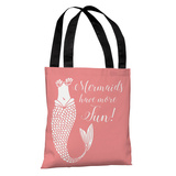 Mermaids Have More Fun Salmon - Salmon Tote Bag by OBC Tote Bag