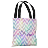 Infinite Love Mix & Match Watercolor Chevron Tote Bag by OBC Tote Bag