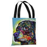 The Rottweiler with Text Tote Bag by Dean Russo Tote Bag by Dean Russo