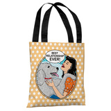 Best Relationship Ever Popart - Peach White Tote Bag by Dog is Good Tote Bag by Dog is Good