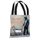 Choose Your Weapon All Bark No Bite Tote Bag by Banksy Tote Bag