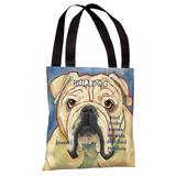 Bulldog 2 Tote Bag by Ursula Dodge Tote Bag