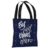 Eat Well, Travel Often - Blue Black Tote Bag by Jeanetta Gonzales Tote Bag