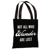 Not All Who Wander Polka Dot - Black White Tote Bag by OBC Tote Bag