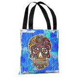 Dia De Los Muertos Skull - Blue Multi Tote Bag by Kate Ward Thacker Tote Bag by Kate Ward Thacker