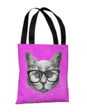 Hipster Cat - Gray Purple Tote Bag by OBC Tote Bag