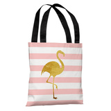 Tropical Stripes Flamingo - Tote Bag Tote Bag