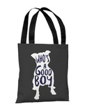 Whos A Good Boy - Navy Gray Tote Bag by OBC Tote Bag