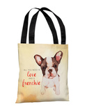 Love and a Frenchie - Yellow Tote Bag by OBC Tote Bag