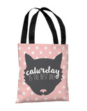 Caturday Is The Best Day - Pink Tote Bag by OBC Tote Bag