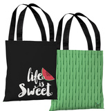 Life Is Sweet Watermelon- Black Tote Bag by Pen & Paint Tote Bag