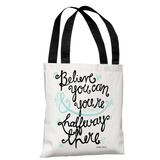 Believe You Can - White Blk Blue Tote Bag by Pen & Paint Tote Bag