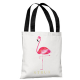 Flamingo Strut - White Pink - White Pink Tote Bag by lezleelliott Tote Bag by lezleeliott