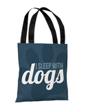 I Sleep With Dogs - Navy Tote Bag by OBC Tote Bag