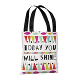 Today You Will Shine BlueMulti - 18' Polyester Tote by Susan Claire Tote Bag by Susan Claire