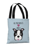 Love and a Dog Heart - Blue Tote Bag by OBC Tote Bag