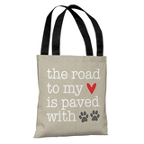 Paved With Pawprints - Tan Tote Bag by OBC Tote Bag