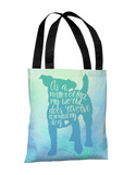 World Revolves Around My Dog - Blue Green Tote Bag by OBC Tote Bag