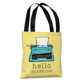 Hello Sunshine Typewriter- Yellow Tote Bag by Pen & Paint Tote Bag