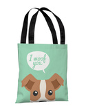Peeking Terrier - Mint Tote Bag by OBC Tote Bag